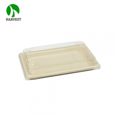 Japanese Sushi Pack Food Grade Paper Pulp Box With Clear Lid