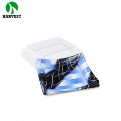 Plastic takeaway disposable square sushi container with clear lid