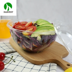Round flower shaped disposable transparent plastic salad container